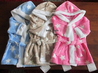 Baby Soft Fleece Dressing Gown Hooded Girls Boys Pyjamas Pink Blue Grey Stars