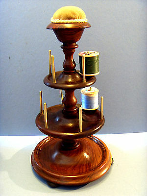Victorian Antique Treen Rosewood Cotton Reel Holder & Pin Cushion.