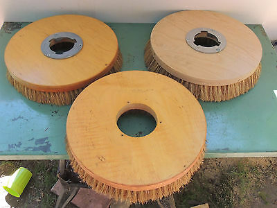 "Lot of 3 Round Floor Brushes 14"" Wood Natural Fibers"