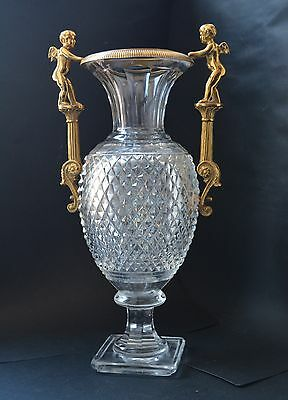 Vintage Cut Crystal Ormolu Mounted Vase with cherubs