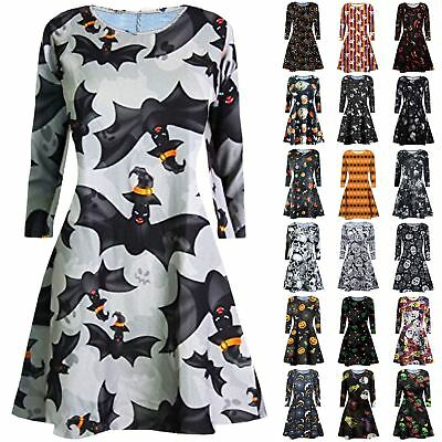 New Womens Ladies Skull Spider Halloween Print Skater Flared Party Swing Dress