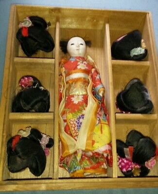 1950's Hanako Japanese doll with 6 wigs in wood box