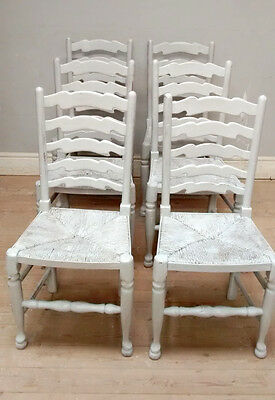 Set of 6 Painted Vintage Rustic / Country Style Dining Chairs