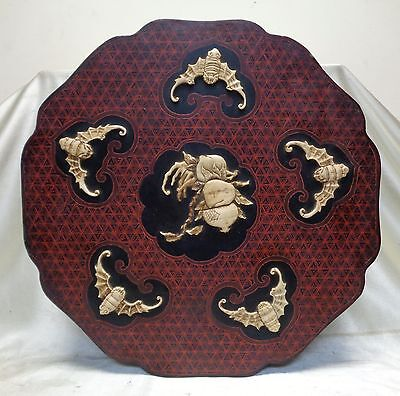 Estate Vintage Chinese Cake Box w. Carved Bone Bat Designs & Red Crossed Pattern
