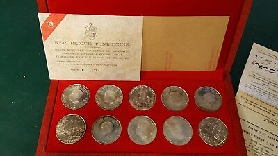 1969 Republic Tunisienne Sterling Silver 10 Coin Proof Set Franklin Mint