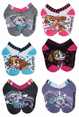 Paw Patrol Girls Size 2-4 Ankle Socks 6-PACK