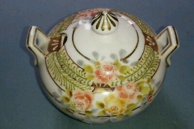 Antique Hand Painted Nippon Suger Bowl Moriage pink roses