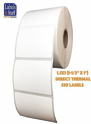 """1 Roll 1.5x1 (1-1/2"""" x 1"""") Direct Thermal Zebra Eltron Labels 520 Labels"""