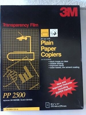 3M Transparency Film PP2500 for Copiers -- 55 Sheets X