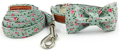 Dog Bow Collar Leash Set For Pets All Sizes Female Male Unisex