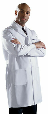 Medline Men's Fine Line Twill Staff Length Lab Coat All Sizes