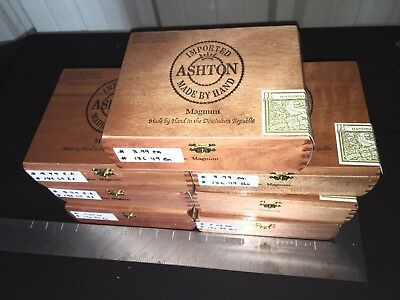 ASHTON Empty Wooden Cigar Boxes! LOT OF 7 Assorted!