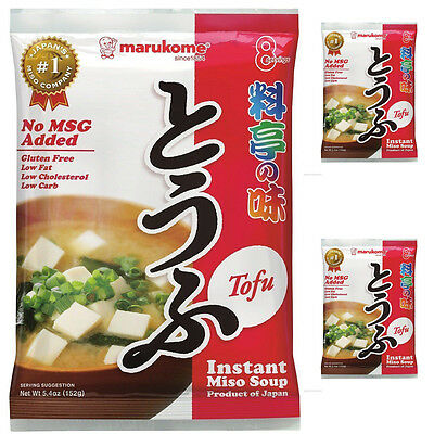 3 Bagx Marukome Instant Miso Soup Tofu Authentic 150 years old Japanese Miso