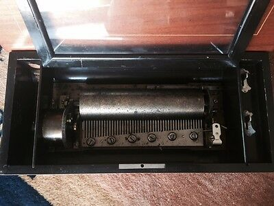 Antique Cylinder 17 Inch Table Top Swiss Music Box Plays 6 Songs Sounds Great