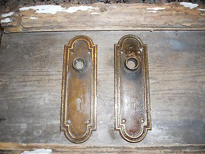 Vtg Arched Heavy Corbin Cast Brass Shabby Steampunk Raised Door Knob Back Plates