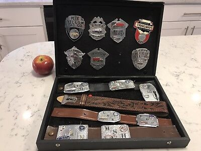 Salesman Sample Vintage Badges and Belt Buckles with case