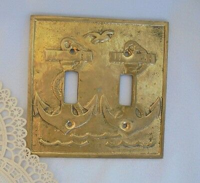 VINTAGE SWITCH COVER, Double Plate, Vintage Brass?, Golden Ancor