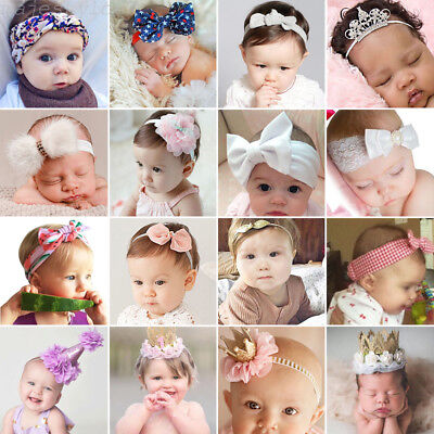 Newborn Baby Toddler Girls Bow Flowers Hair Band Turban Headband Headwear Lot