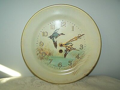 Vintage 10'' Tin Plate Key Wind Clock With Goose - Made In Great Britain