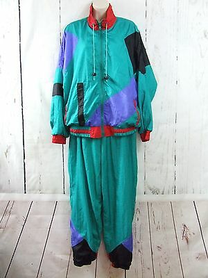 Vintage Retro 80's Milano Sport 2 PieceTrack Suit Green Blue Color Block Sz L