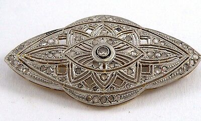 Art Deco 18K Gold and Platinum with Diamond Brooch