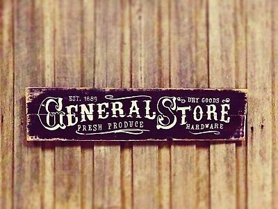 General Store sign H20cm x L80cm - Rustic Vintage Style Recycled Timber Sign