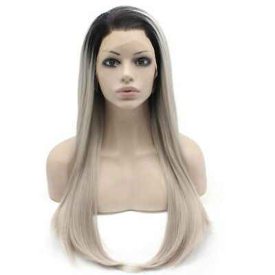 Long Straight Ombre Black Gray Blonde Two Tone Lace Front Wig