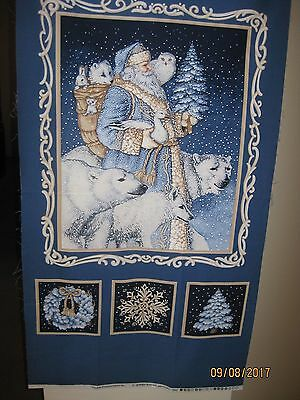 """All Is Calm Artic Santa"" Christmas Panel"