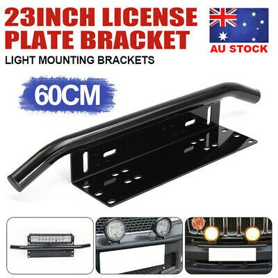 "23"" License Number Plate Frame Holder Bull Bar Bumper Mount Light LED Bracket"