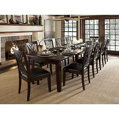 9 Pc Wood Dining Set Rectangle Expandable Furniture Family Room Chairs Holiday