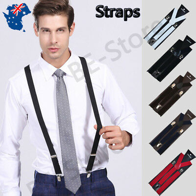 Mens Womens Suspenders Strong Elastic Adjustable Clip-On Braces Formal Wedding