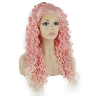 Long Curly Pink Synthetic Lace Front Cosplay Party Wig
