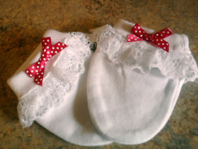 newborn reborn white scratch mittens with white lace and pink spotty bow new