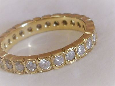 18Ct Yellow Gold & Old Cut Diamond Full Circle Ring -Eternity, Wedding, Stacking
