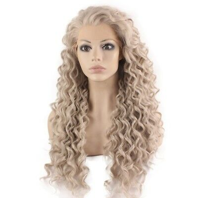 Long Curly Gray Blond Heat Resistant Fiber Hair Lace Front Wig