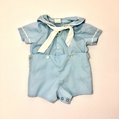 Vintage Bryan Baby Boy Sailor Outfit Size 0-3 Months Blue White Collar Ties