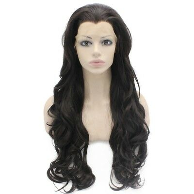 Long Wavy Dark Brown Heat Safe Synthetic Lace Front Wig Natural