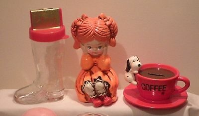 3 Vintage Money Boxes, Shoe, Girl, Coffee Cup