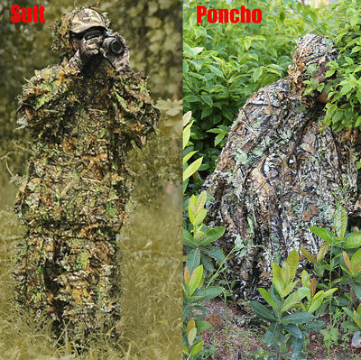 Tactic 3D Camouflage Leaf Clothing Hunting Sniper Ghillie Suit Cloak Woodland ZY