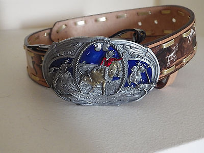 "Cowboy country farmer kids 1&1/4"" leather belt rodeo bull rider buckle BNWT sz22"