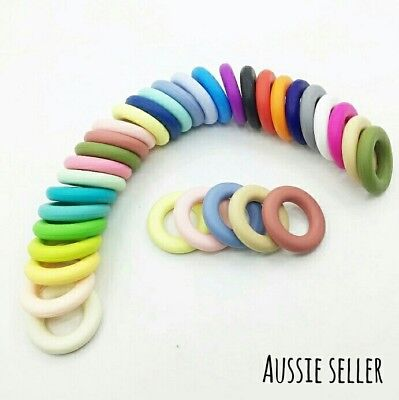 Silicone Donut Ring Bead Necklace Baby Play Gym Dummy Clip Pram Garland 42mm