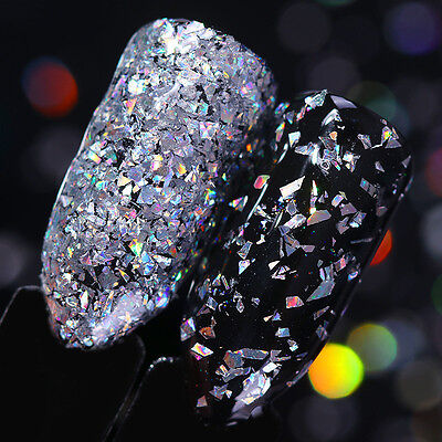 Silver Holographic Nail Glitter Flakes Irregular Nail Sequins Powder BORN PRETTY