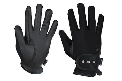 HORKA Serino & Lycra Joleen Horse Riding Gloves - Black