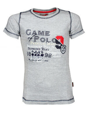 RED HORSE Boys Riding T-Shirt - 'Harlem' - Grey