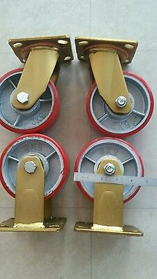 castors, 5 inch,125mm, extra heavy duty ,set of 4 2000kg combined rated