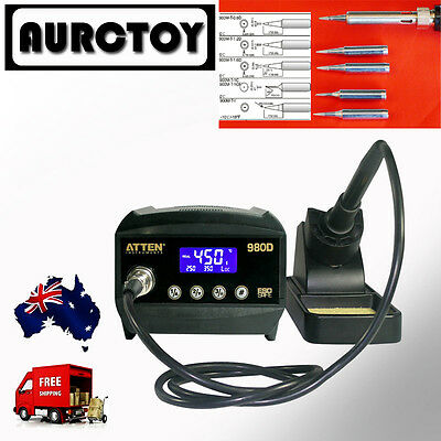 ATTEN SOLDERING IRON STATION LED AT980D LEAD FREE 5 Tips  1 Year WRT AU SELLER