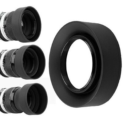 3 in 1 3-Stage Collapsible Rubber Lens Hood for Canon Nikon Pentax DSLR 58mm