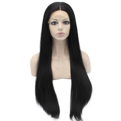 30inch Extra Long Straight Black Natural Lace Front Synthetic Wig