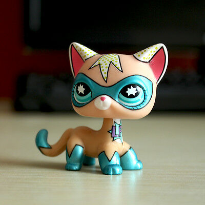 Littlest Pet Shop Comic Con Super Hero Masked Short Hair Cat LPS Rare Girl Toys