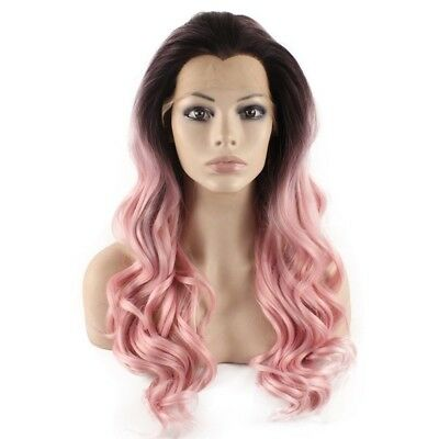 Long Wavy Hand Tied Lace Front Brown Pink Ombre Wavy Wig